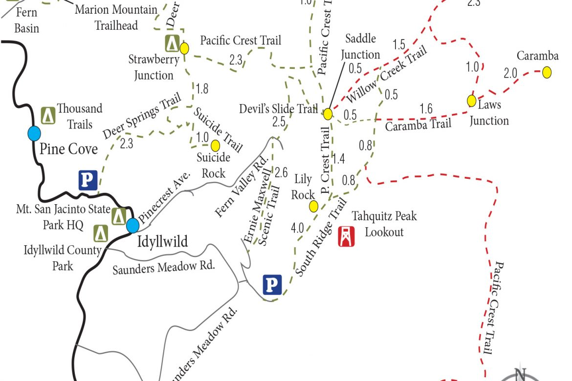 Trail Map for Idyllwild